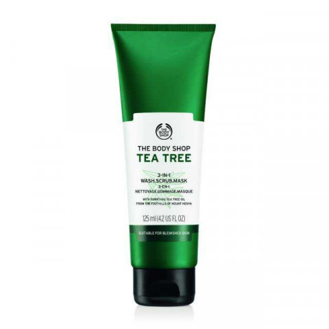 The Body Shop Tea Tree 3 in1 Scrub Mask,125ML Good for Oily and combination skin